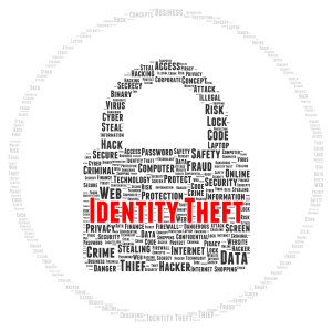 Identity theft word cloud shape concept